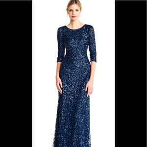 Adrianna papell 3/4 sleeve beaded gown